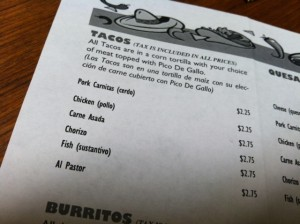 Menu at the new Taco stand in Steamboat Springs