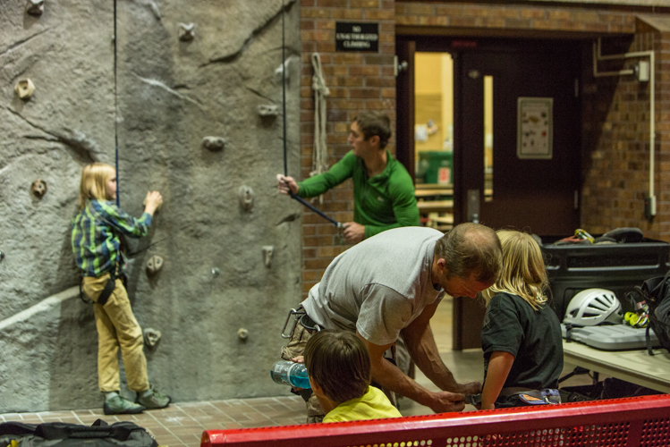 Family rock climbing in Steamboat
