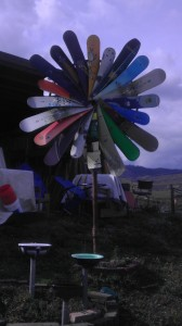 Snowboard yard art at the Home Resource