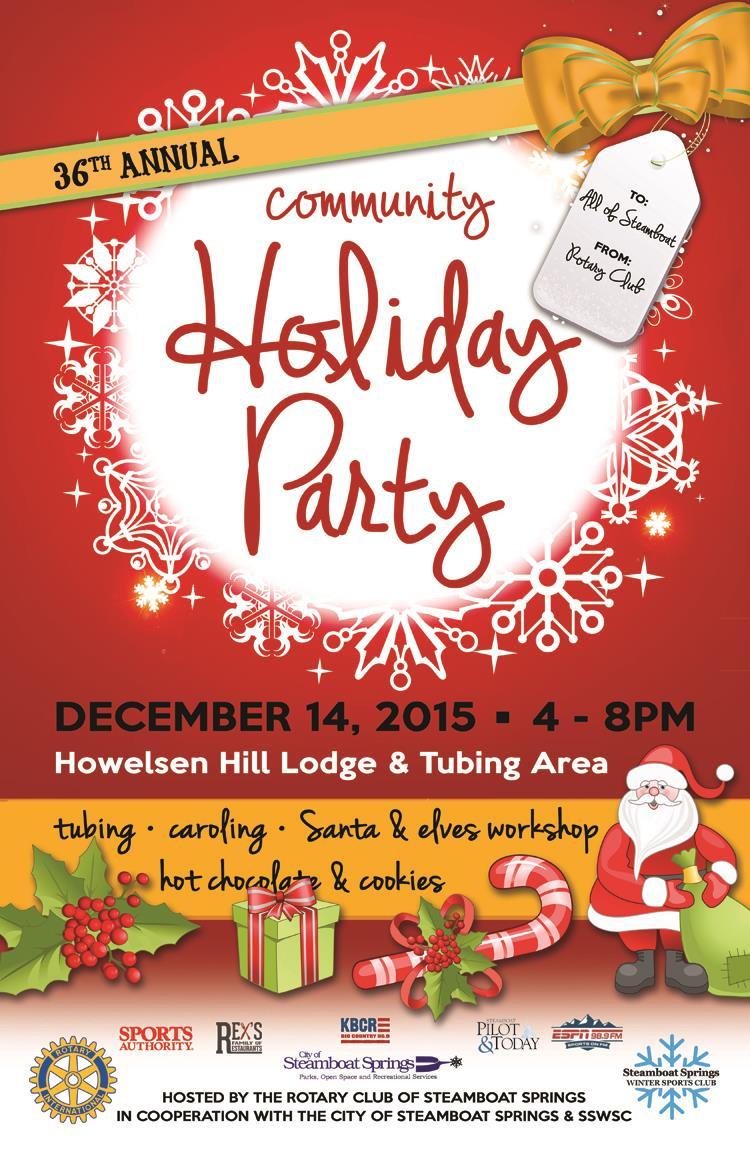 sledding, steamboat springs, community holiday party, tubing, Santa