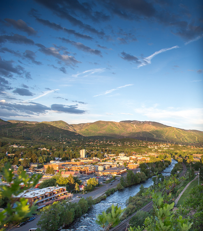 summer overlooking steamboat, Steamboat Springs, Steamboat Ski Area, Yampa River, downtown, Old Town, Yampa Valley, blue skies, mountains, Colorado, places to go in 2015