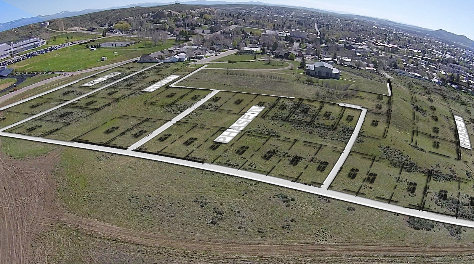 Property with site overlay, Aerial, housing development, Craig, CO, land development for sale, 23-acres, 90 home sites