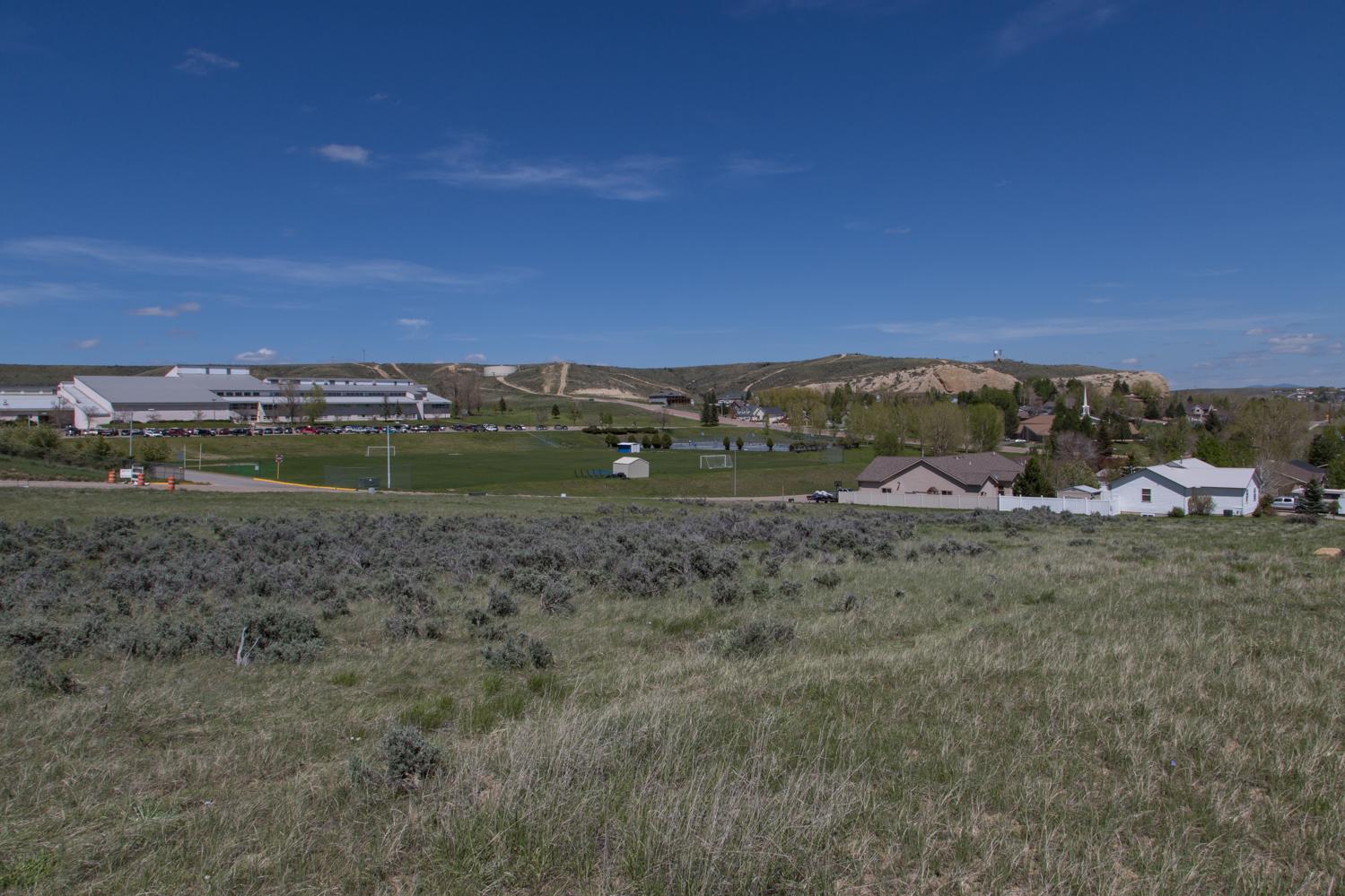 Moffat County High School, Aerial, housing development, Craig, CO, land development for sale, 23-acres, 90 home sites