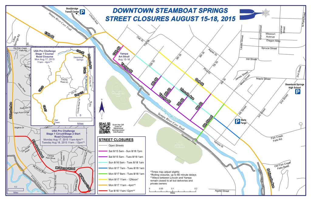 2015 USA Pro Challenge Street Closures in Steamboat Springs, CO for August 15 - 18