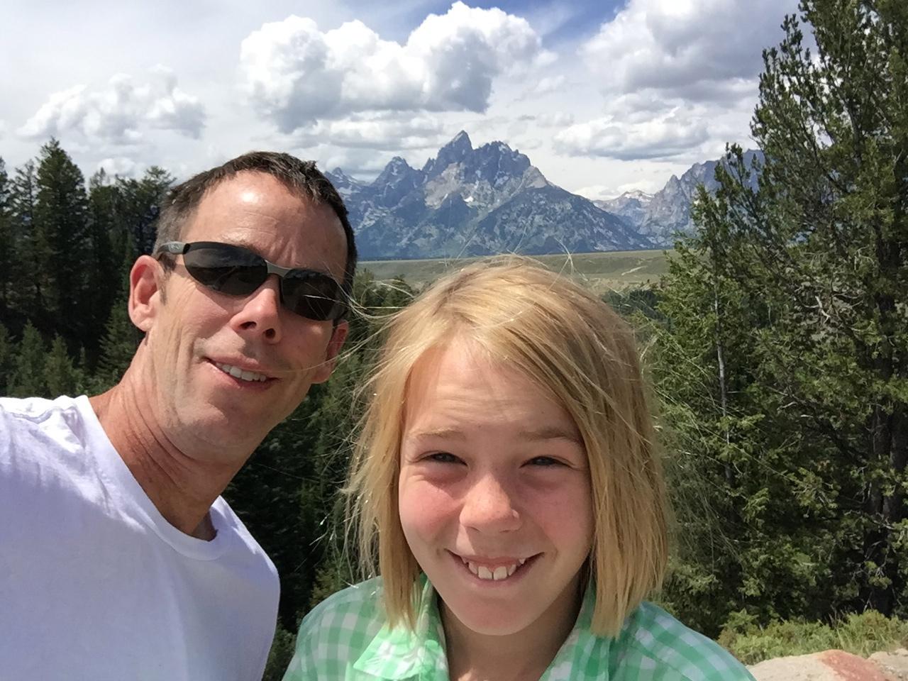 Finn and I photobombing the Grand Tetons National Park