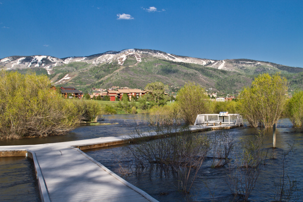Yampa River flooding Rotary Park, Steamboat Springs