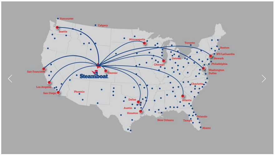 Direct Flights Winter 2016/2017 Into Steamboat Springs (HDN)